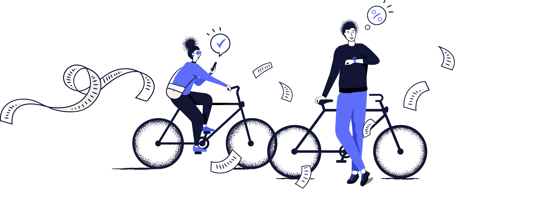 A woman and a man riding bikes among the abstract shapes interacting with their mobile devices.